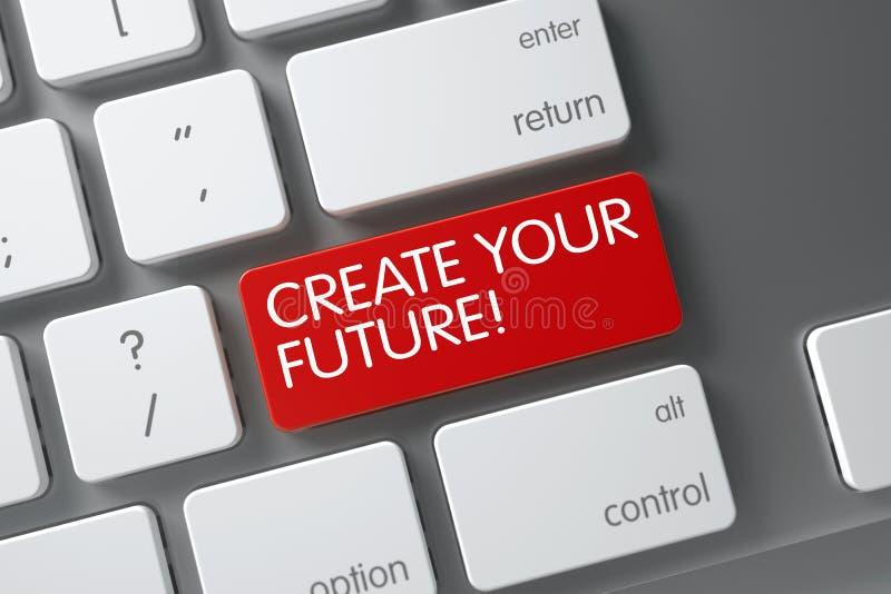 El rojo crea su llave futura en el teclado 3d foto de archivo