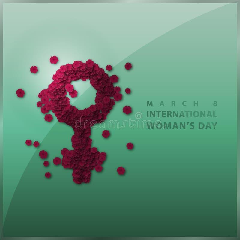 El rojo de HD florece el fondo o el cartel internacional del día del ` s de la mujer stock de ilustración