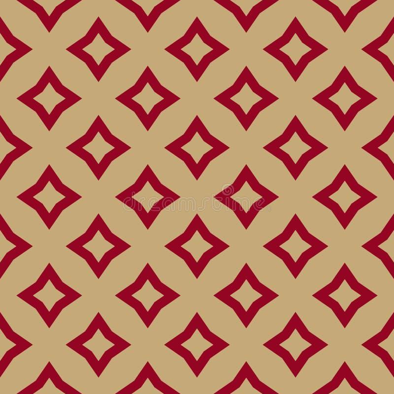 El rojo de lujo y el oro vector el modelo inconsútil geométrico con los Rhombus, diamante forma, las estrellas, tejas de la repet ilustración del vector