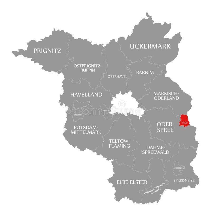 El rojo del condado de Francfort Oder destac? en el mapa de Brandeburgo Alemania ilustración del vector