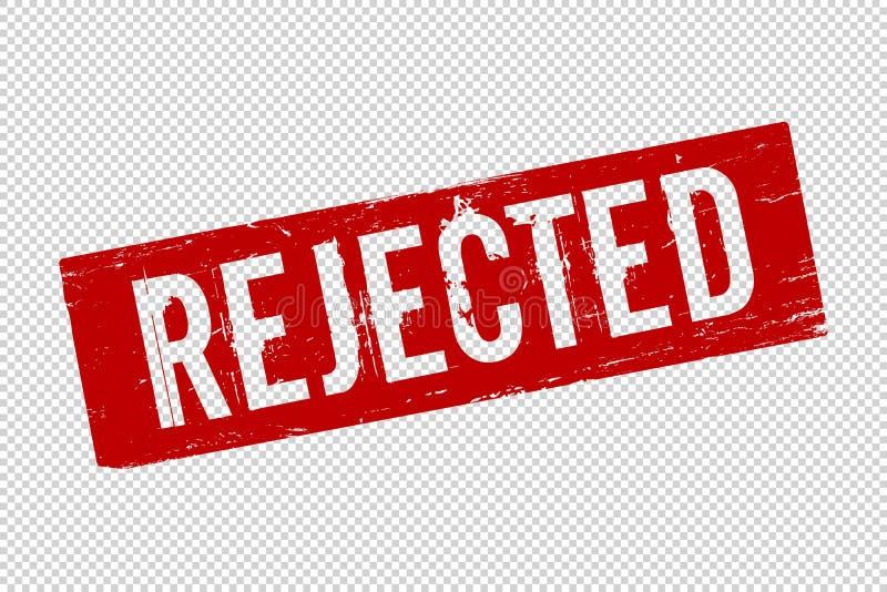 El rojo del Grunge rechazó el sello de goma cuadrado del sello ilustración del vector