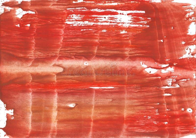 El rojo del serbal manchó textura de la acuarela imagen de archivo libre de regalías