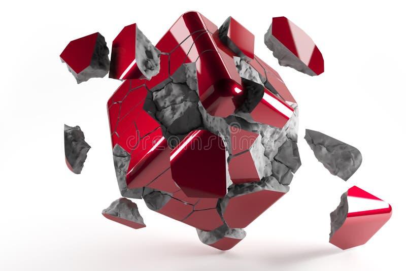 El rojo destructed el cubo 3d con los pedazos que caían de cubo libre illustration