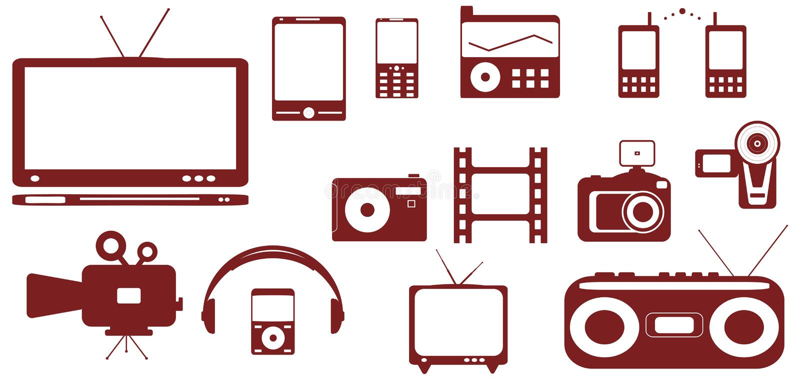 Objetos aislados - satélite, audio, técnica video ilustración del vector