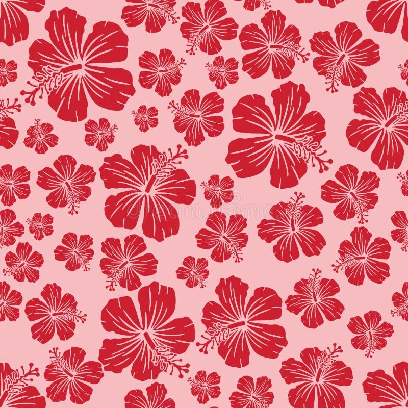 El rojo en hibisco al azar rosado florece el fondo inconsútil del modelo de la repetición imagen de archivo