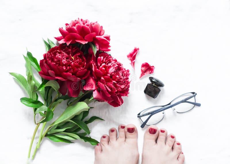 El rojo florece las peonías, pies femeninos hermosos con pedicura roja, vidrios, perfume en el fondo ligero, visión superior Conc foto de archivo libre de regalías
