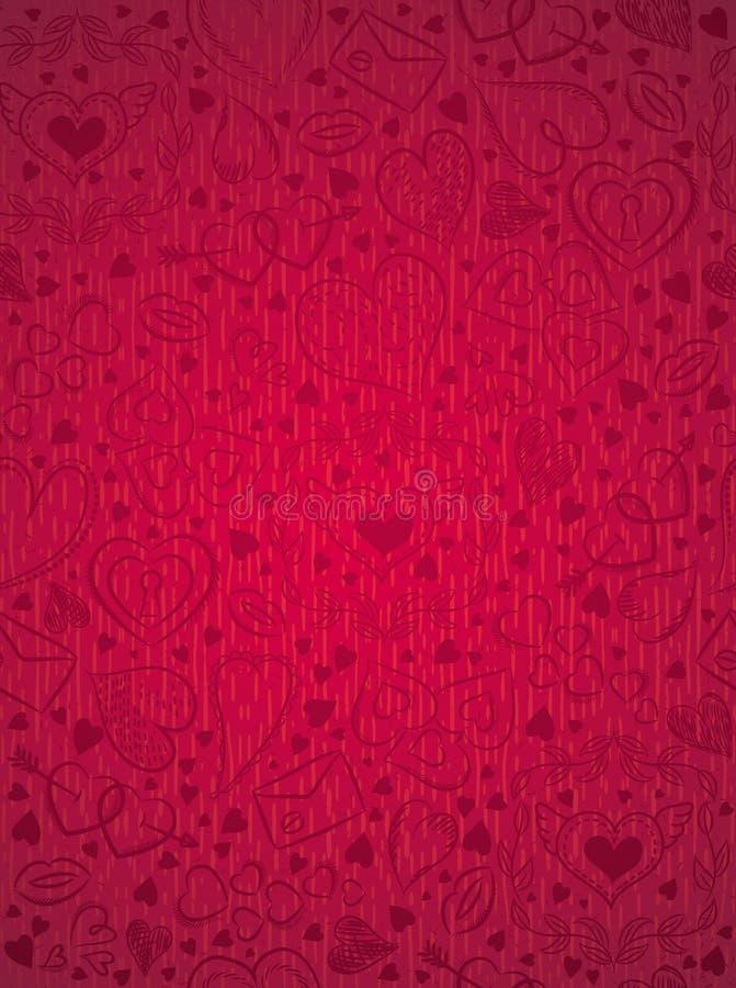 El rojo modeló el fondo con los corazones de la tarjeta del día de San Valentín, vector stock de ilustración