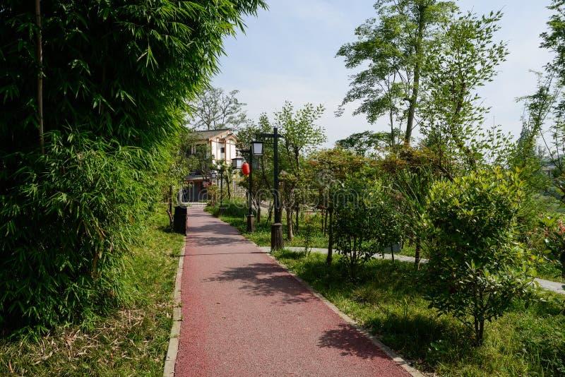 El rojo pintó la trayectoria al edificio de la vivienda del campo en verano soleado imagen de archivo
