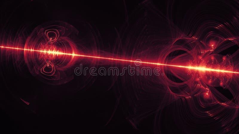 El rojo que brillaba intensamente curvó líneas sobre el universo abstracto oscuro del espacio del fondo Ilustración stock de ilustración