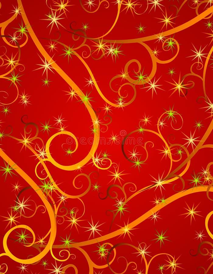 El rojo remolina fondo de la Navidad de las estrellas ilustración del vector