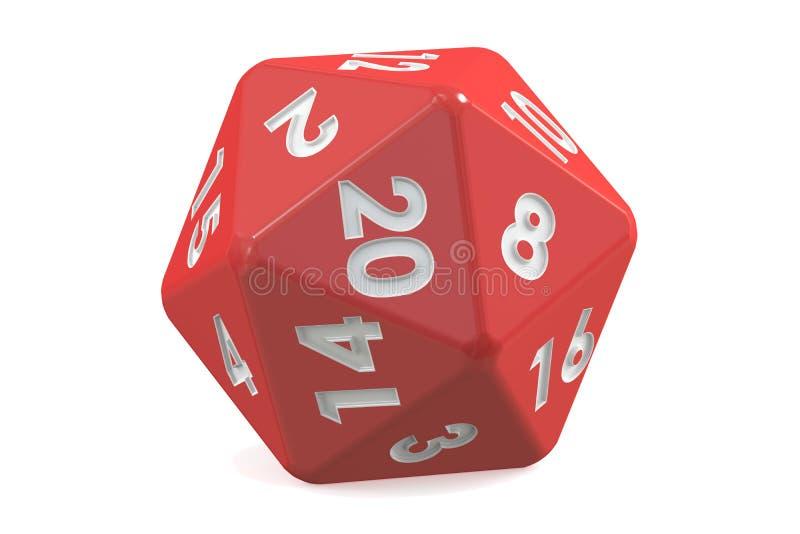 El rojo veinte-echó a un lado muere, 20 lados representación 3d stock de ilustración