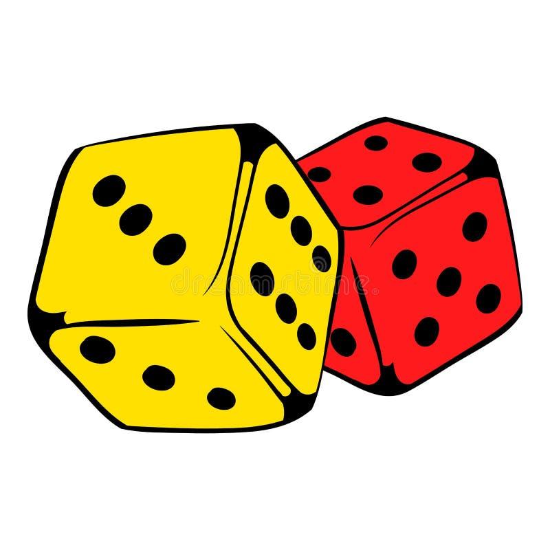 El rojo y el amarillo cortan el icono en cuadritos, historieta del icono stock de ilustración