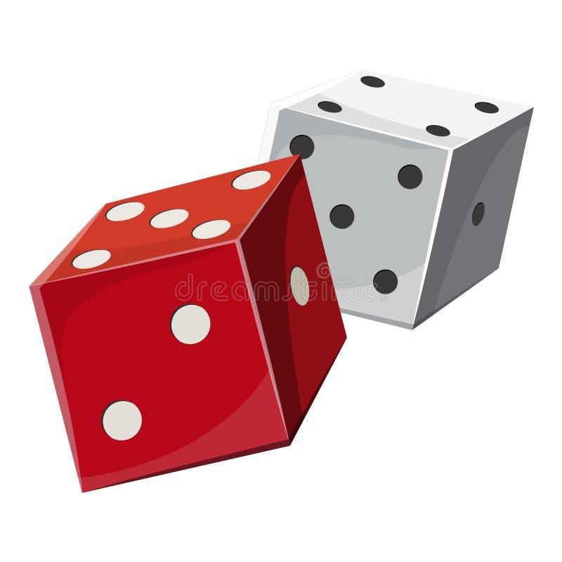 El rojo y el blanco cortan los cubos en cuadritos icono, estilo de la historieta libre illustration
