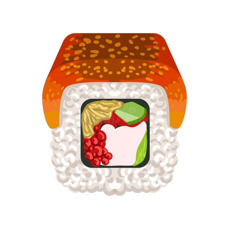 El rollo de sushi con la anguila ahumada remató, cocina japonesa tradicional Ejemplo colorido de la historieta ilustración del vector