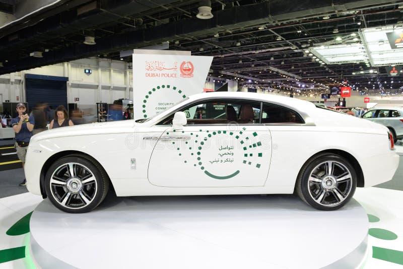 El Rolls Royce Wraith del coche policía de Dubai está en el salón del automóvil 2017 de Dubai imágenes de archivo libres de regalías