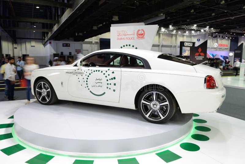El Rolls Royce Wraith del coche policía de Dubai está en el salón del automóvil 2017 de Dubai fotografía de archivo libre de regalías