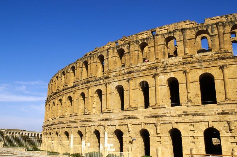 EL romano Djem, Túnez del Coliseum- foto de archivo