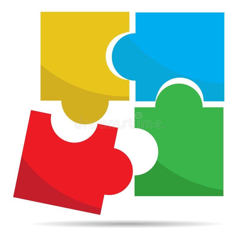 El rompecabezas coloreado junta las piezas de vector del logotipo stock de ilustración
