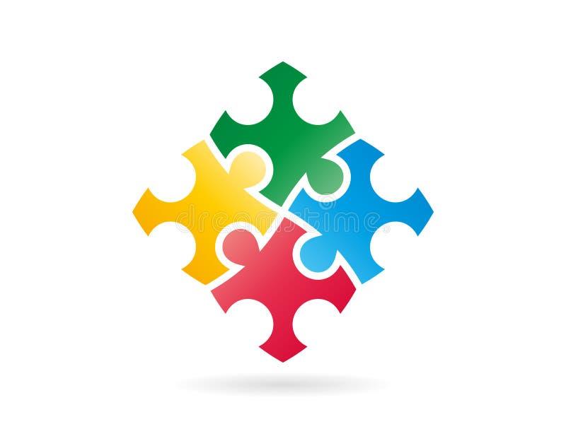 El rompecabezas colorido junta las piezas de formar un cuadrado entero en el movimiento Plantilla del ejemplo del gráfico de vect libre illustration