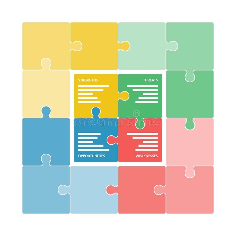 El rompecabezas colorido junta las piezas de formar un diagrama cuadrado del empollón libre illustration