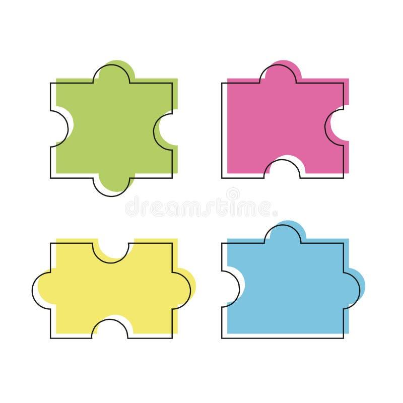El rompecabezas cuatro coloreó el ejemplo del vector de los pedazos, aislado en el fondo blanco libre illustration