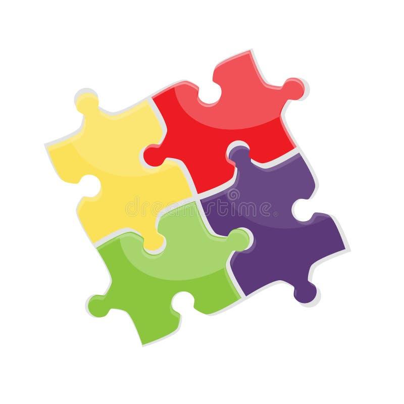 El rompecabezas cuatro coloreó los pedazos, aislados en el fondo blanco Ilustración del vector ilustración del vector