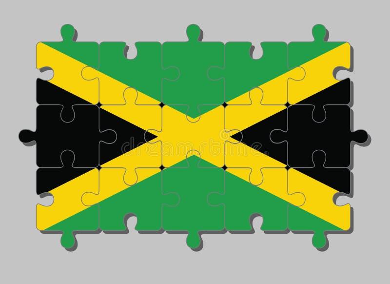 El rompecabezas de la bandera de Jamaica en una cruz diagonal del oro divide el campo en cuatro triángulos de verde y de negro libre illustration
