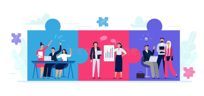 El rompecabezas de los equipos conectados Cooperación entre equipos de trabajadores de oficina, colaboración en equipo y asociaci stock de ilustración