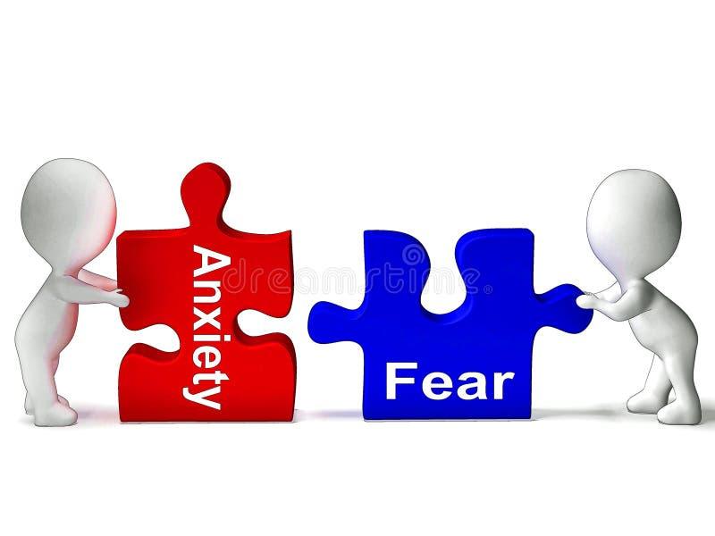 El rompecabezas del miedo de la ansiedad significa ansioso o asustado ilustración del vector