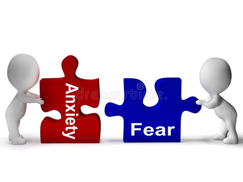 El rompecabezas del miedo de la ansiedad significa ansioso y asustado ilustración del vector