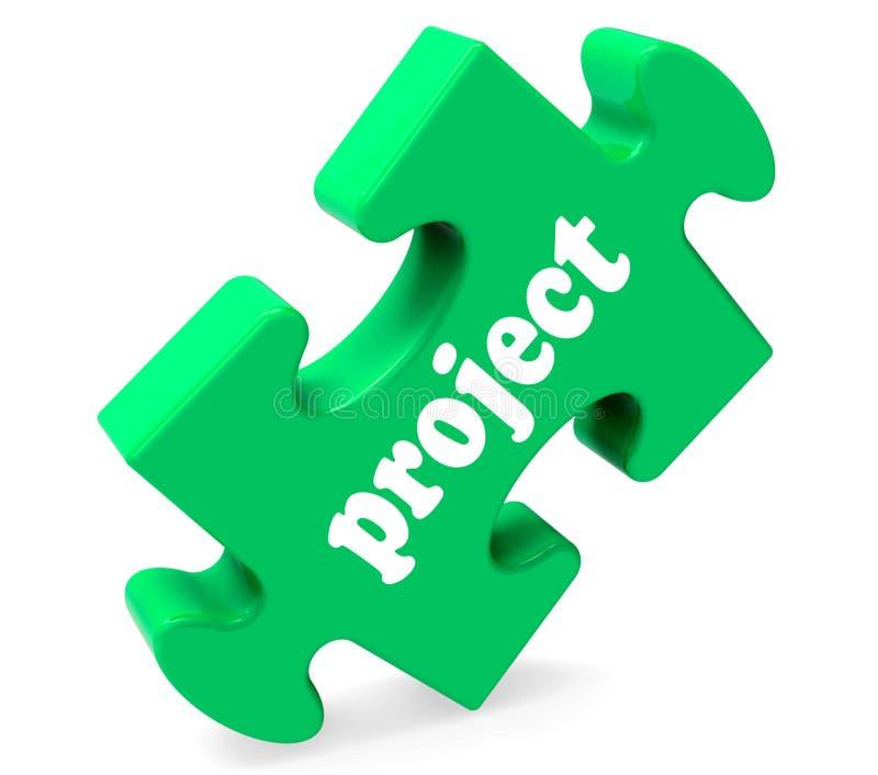 El rompecabezas del proyecto muestra plan o tarea del planeamiento stock de ilustración
