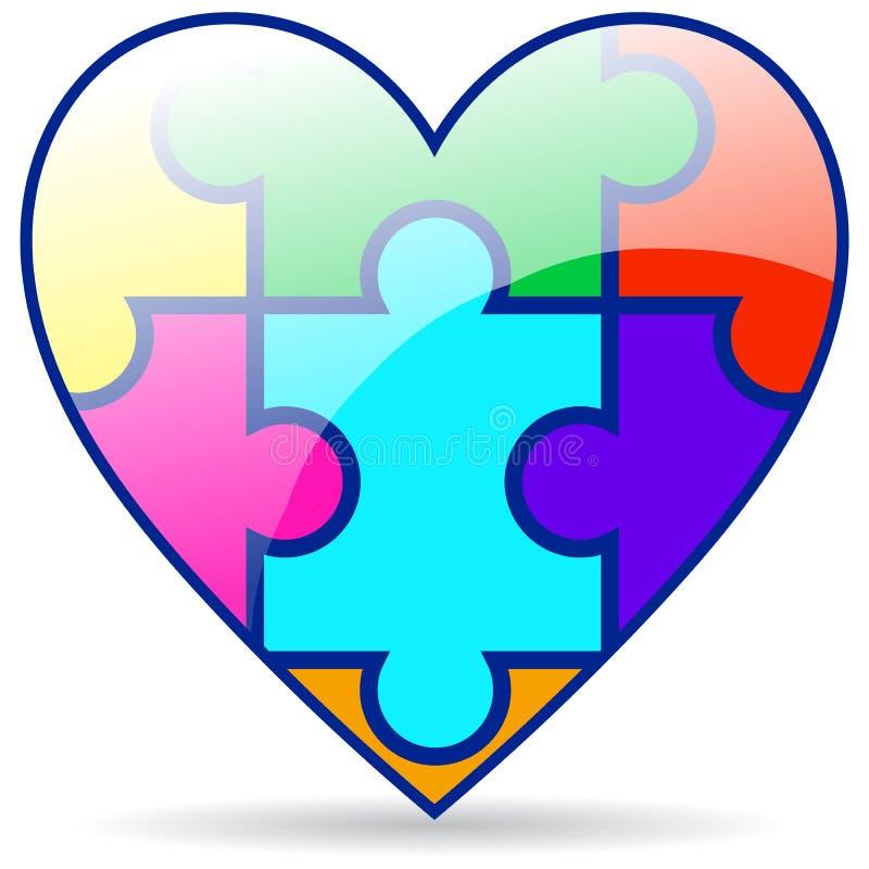 El rompecabezas junta las piezas del corazón colorido en blanco libre illustration