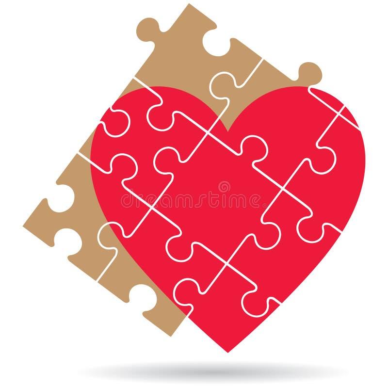 El rompecabezas junta las piezas del corazón en el fondo blanco ilustración del vector