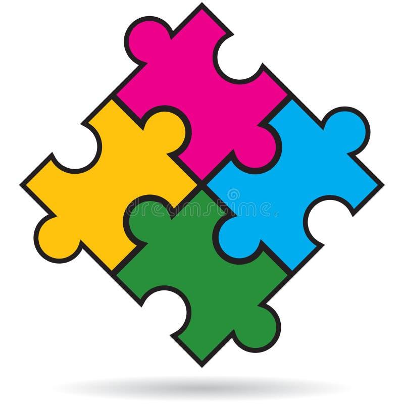 El rompecabezas junta las piezas del fondo blanco coloreado multi ilustración del vector