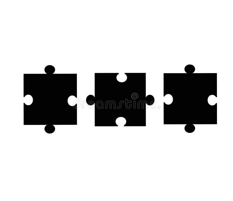 El rompecabezas junta las piezas del icono en el fondo blanco Estilo plano Pedazo del rompecabezas stock de ilustración