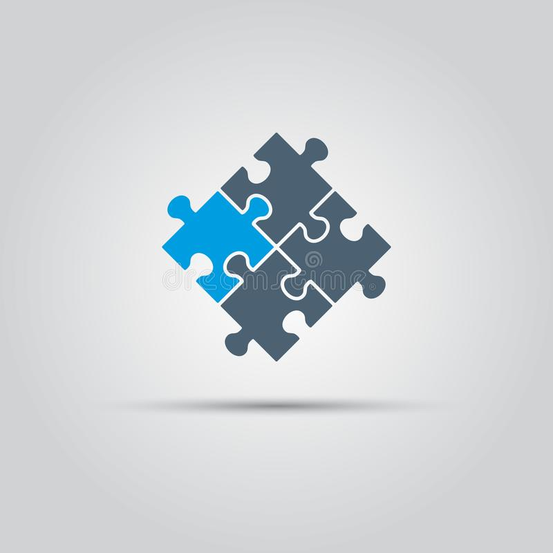 El rompecabezas junta las piezas del icono del vector stock de ilustración