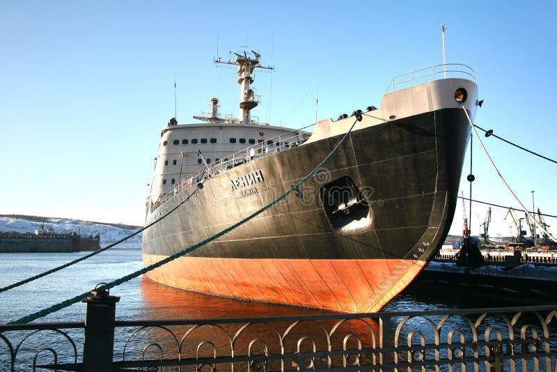 El rompehielos atómico, la nave superficial del ` s primer del mundo con una central nuclear en Murmansk, Rusia imagenes de archivo