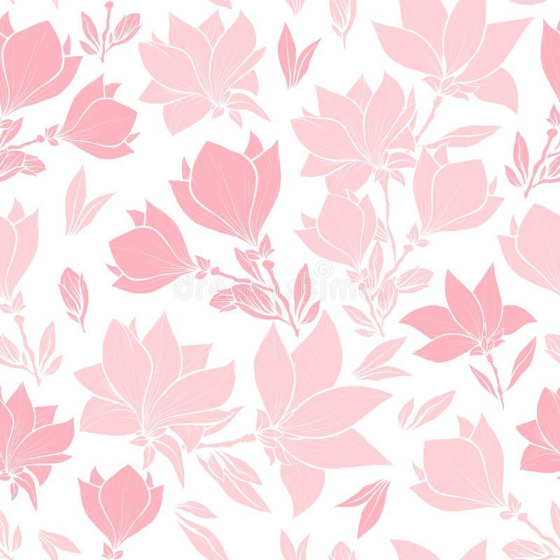 El rosa de la magnolia florece el modelo inconsútil del vector ilustración del vector