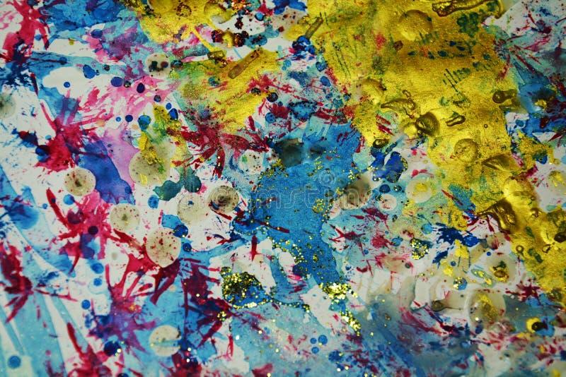 El rosa del rojo azul del oro salpica, los contrastes, fondo creativo de la acuarela de la pintura fotografía de archivo
