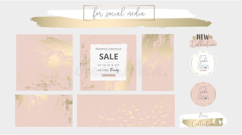 El rosa elegante de moda del oro de los medios sociales elegantes se ruboriza las plantillas de la bandera ilustración del vector