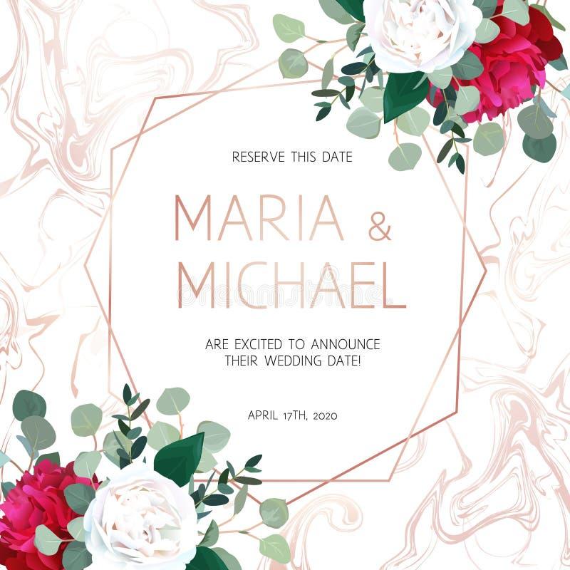 El rosa elegante veteó el marco del vector con las flores blancas y rojas libre illustration