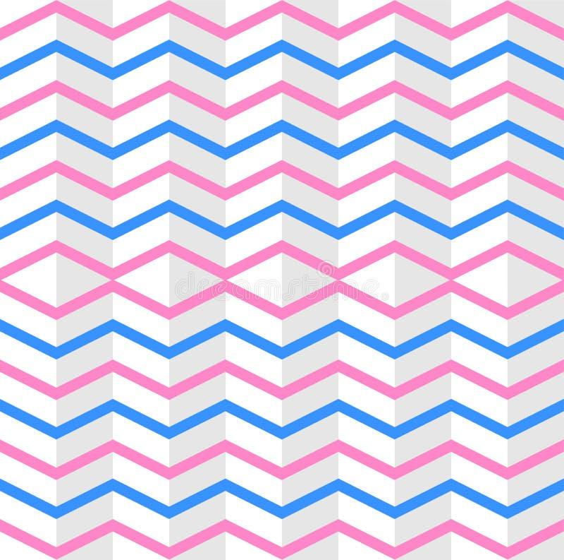 El rosa entrelazado inconsútil y las rayas azules del zigzag texturizan en el fondo blanco libre illustration
