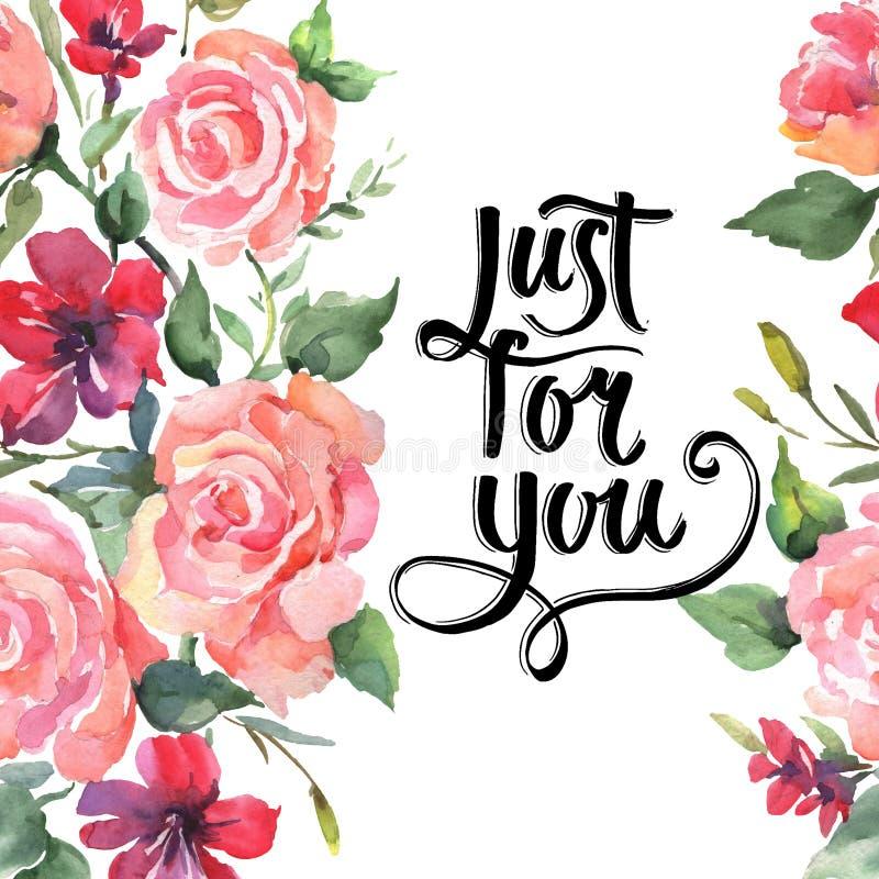 El rosa subió las flores botánicas florales del ramo Sistema del ejemplo del fondo de la acuarela Cuadrado del ornamento de la fr libre illustration