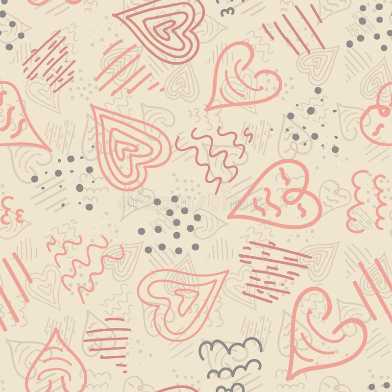 El rosa y la crema del vector garabatean el fondo inconsútil del modelo de la repetición de los corazones Perfeccione para la tel libre illustration