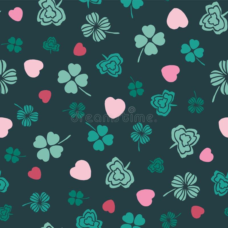 El rosa y los símbolos irlandeses verdes diseñan con los tréboles y los corazones exhaustos de la mano Ideal para el día del St P ilustración del vector