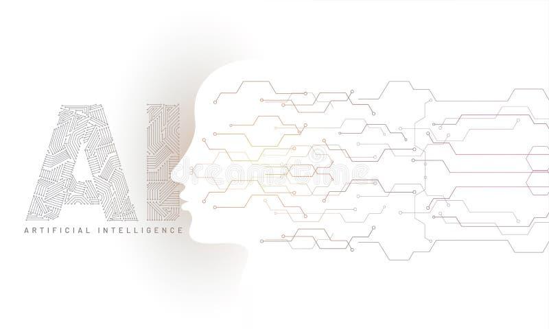 El rostro humano hecho por el circuito digital con el texto del AI generó digita stock de ilustración