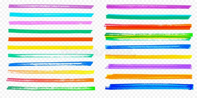 El rotulador determinado del color del vector del movimiento del cepillo del punto culminante alinea el fondo transparente stock de ilustración