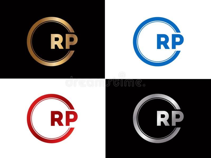 El RP ajusta diseño del logotipo de la letra de la forma en el color oro de plata ilustración del vector