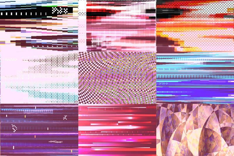 El ruido roto TV abstracto glitchy de la pantalla del modelo de la textura del vector del fondo de la interferencia texturizó el  stock de ilustración