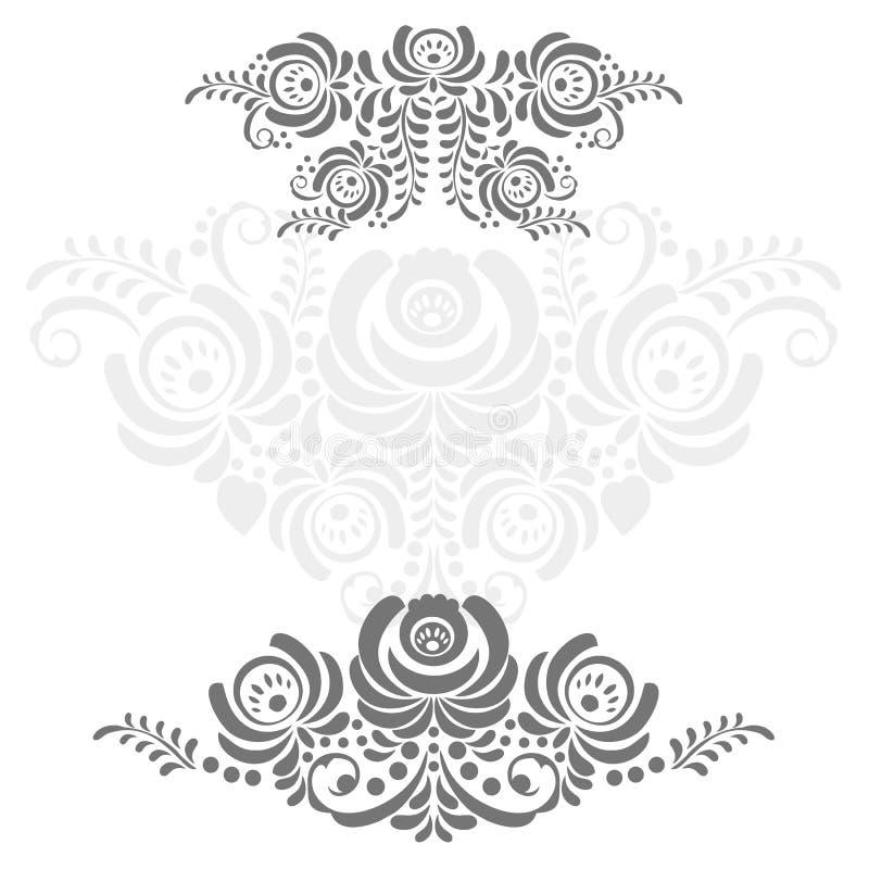 El ruso adorna el marco del arte en estilo del gzhel ilustración del vector